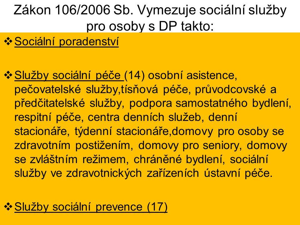 Zákon 106/2006 Sb. Vymezuje sociální služby pro osoby s DP takto: