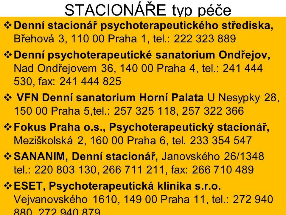 STACIONÁŘE typ péče Denní stacionář psychoterapeutického střediska, Břehová 3, 110 00 Praha 1, tel.: 222 323 889