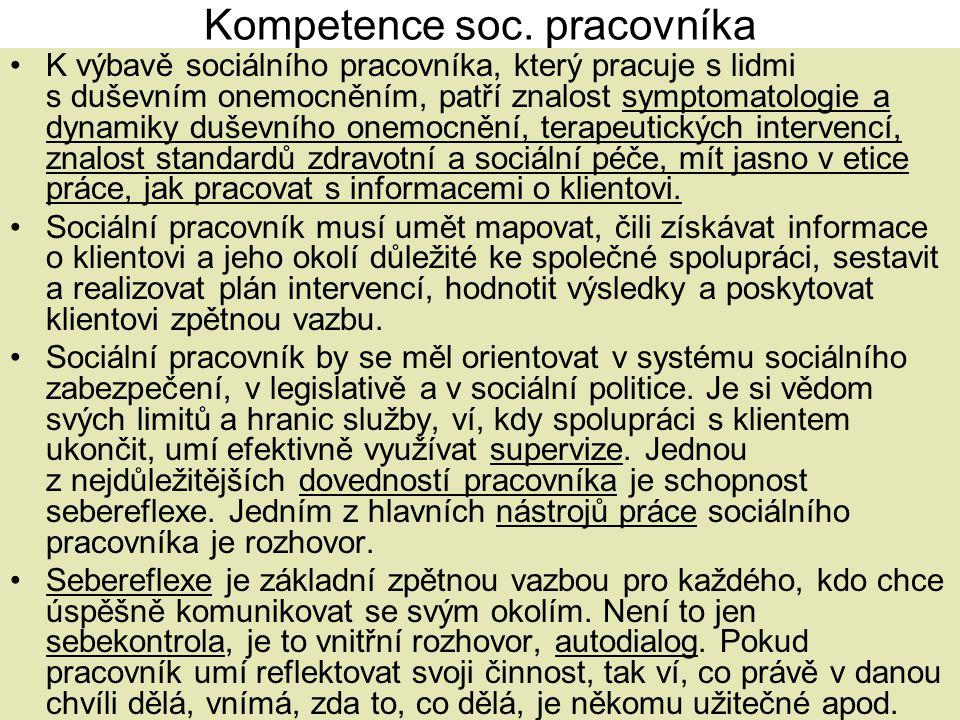 Kompetence soc. pracovníka