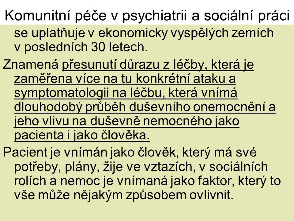 Komunitní péče v psychiatrii a sociální práci