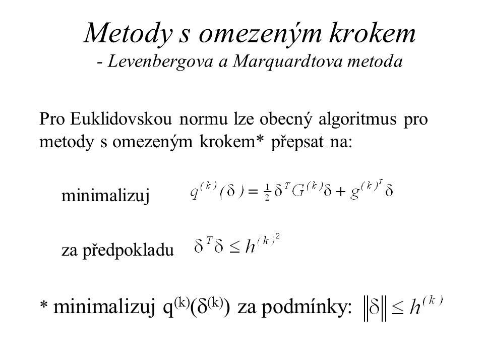 Metody s omezeným krokem - Levenbergova a Marquardtova metoda