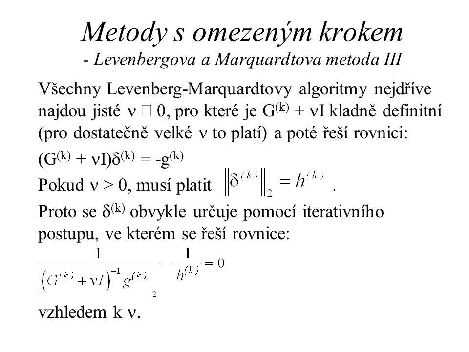 Metody s omezeným krokem - Levenbergova a Marquardtova metoda III