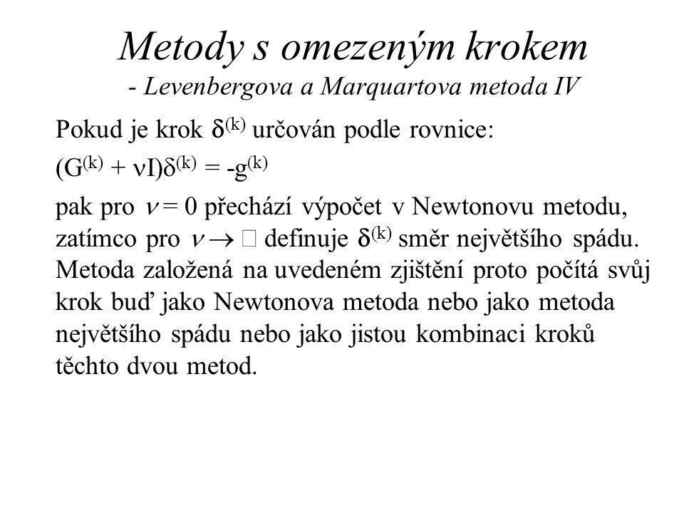Metody s omezeným krokem - Levenbergova a Marquartova metoda IV