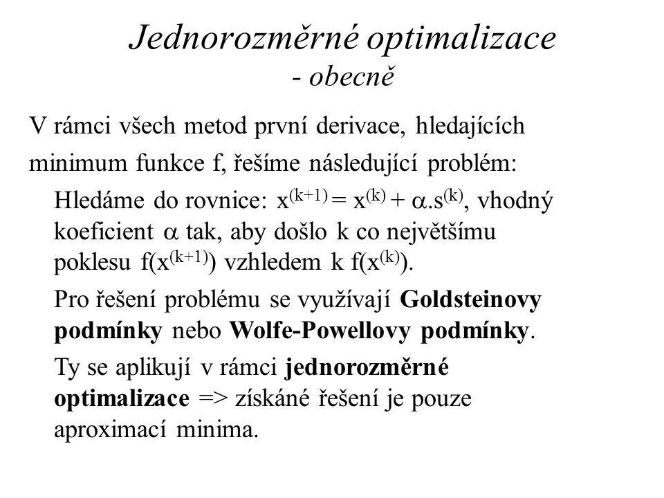 Jednorozměrné optimalizace - obecně