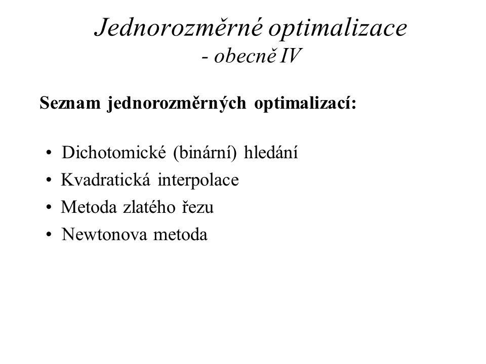 Jednorozměrné optimalizace - obecně IV