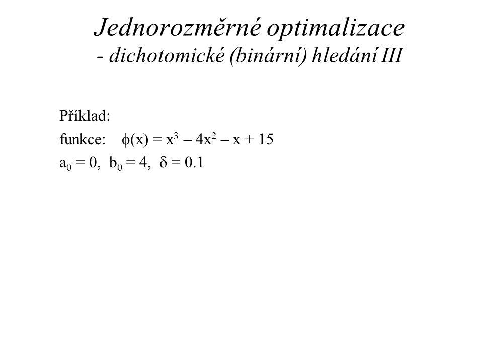 Jednorozměrné optimalizace - dichotomické (binární) hledání III