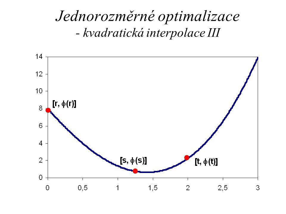 Jednorozměrné optimalizace - kvadratická interpolace III