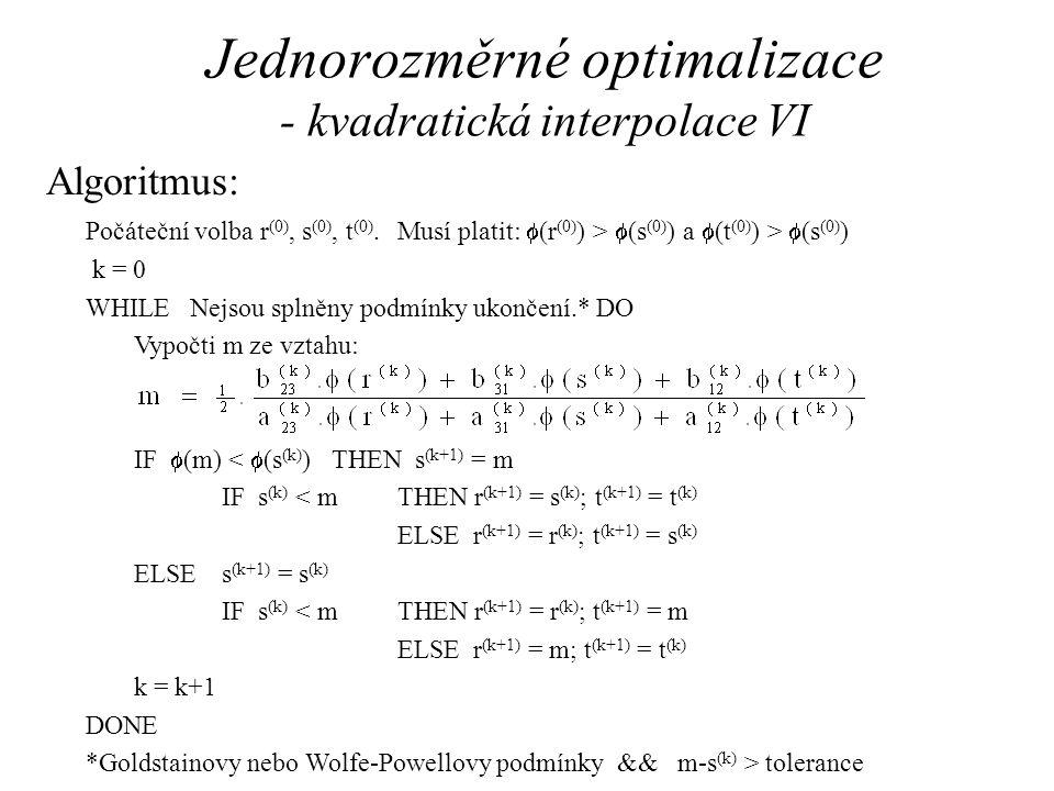 Jednorozměrné optimalizace - kvadratická interpolace VI