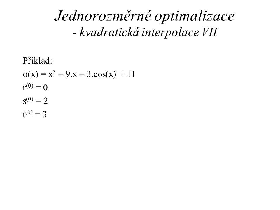 Jednorozměrné optimalizace - kvadratická interpolace VII
