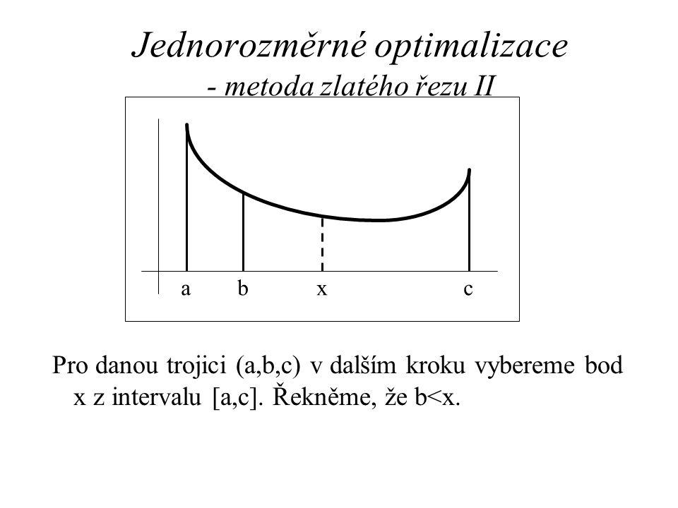 Jednorozměrné optimalizace - metoda zlatého řezu II