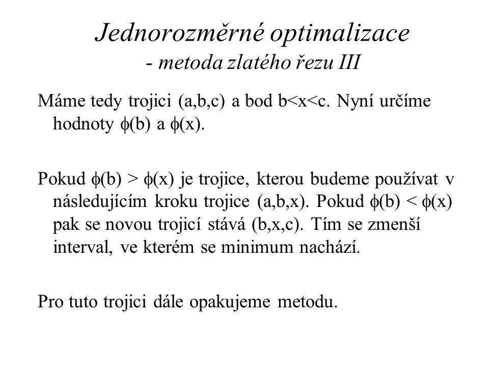 Jednorozměrné optimalizace - metoda zlatého řezu III