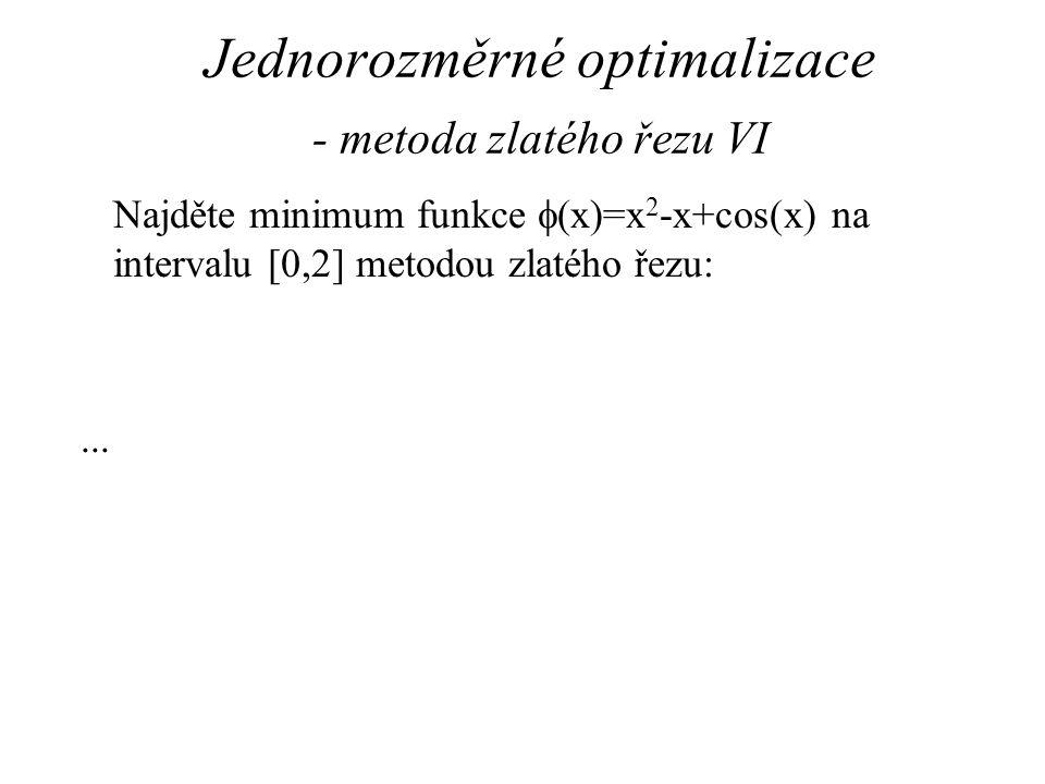 Jednorozměrné optimalizace - metoda zlatého řezu VI