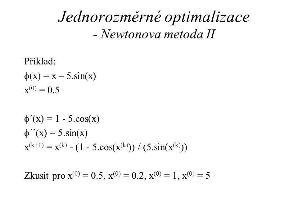 Jednorozměrné optimalizace - Newtonova metoda II