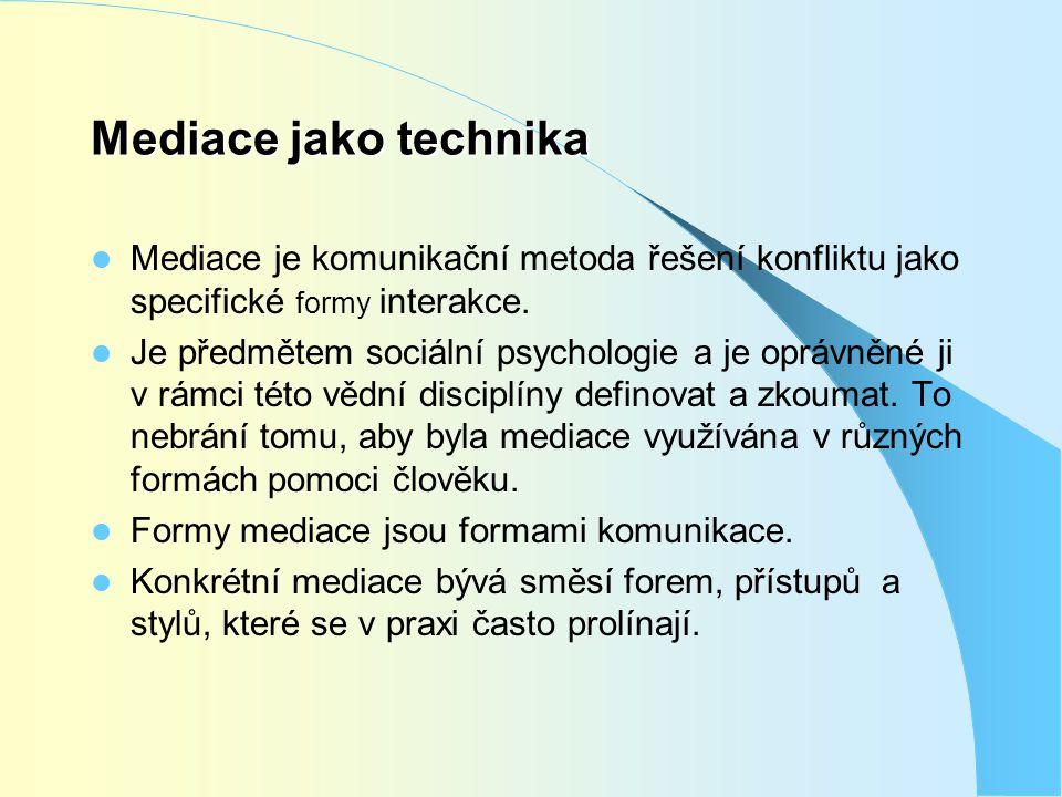 Mediace jako technika Mediace je komunikační metoda řešení konfliktu jako specifické formy interakce.