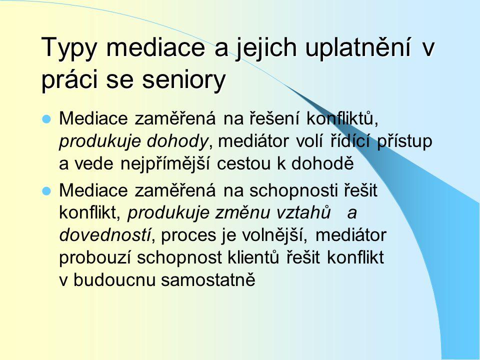 Typy mediace a jejich uplatnění v práci se seniory