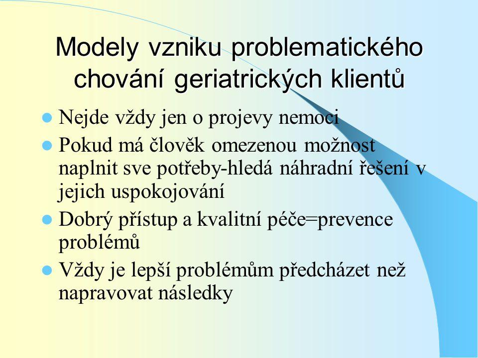 Modely vzniku problematického chování geriatrických klientů