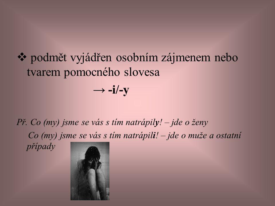 podmět vyjádřen osobním zájmenem nebo tvarem pomocného slovesa → -i/-y