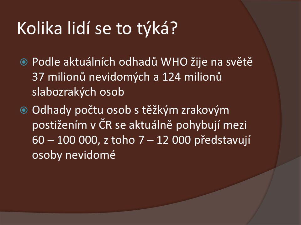 Kolika lidí se to týká Podle aktuálních odhadů WHO žije na světě 37 milionů nevidomých a 124 milionů slabozrakých osob.