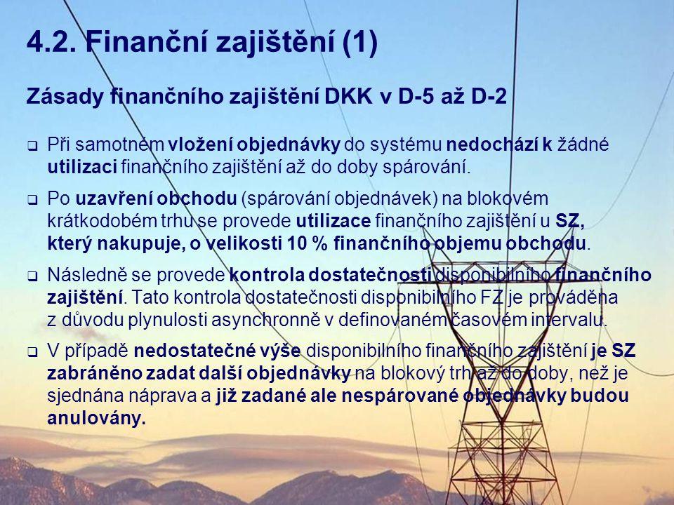 4.2. Finanční zajištění (1) Zásady finančního zajištění DKK v D-5 až D-2.