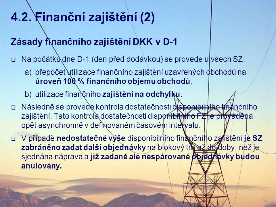 4.2. Finanční zajištění (2) Zásady finančního zajištění DKK v D-1