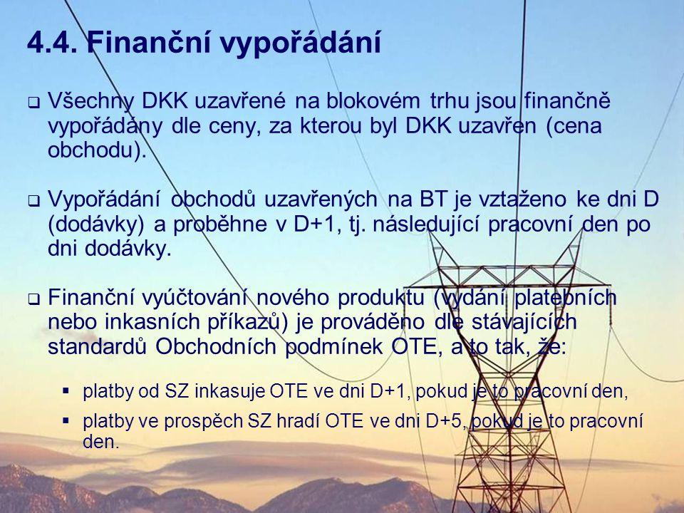 4.4. Finanční vypořádání Všechny DKK uzavřené na blokovém trhu jsou finančně vypořádány dle ceny, za kterou byl DKK uzavřen (cena obchodu).