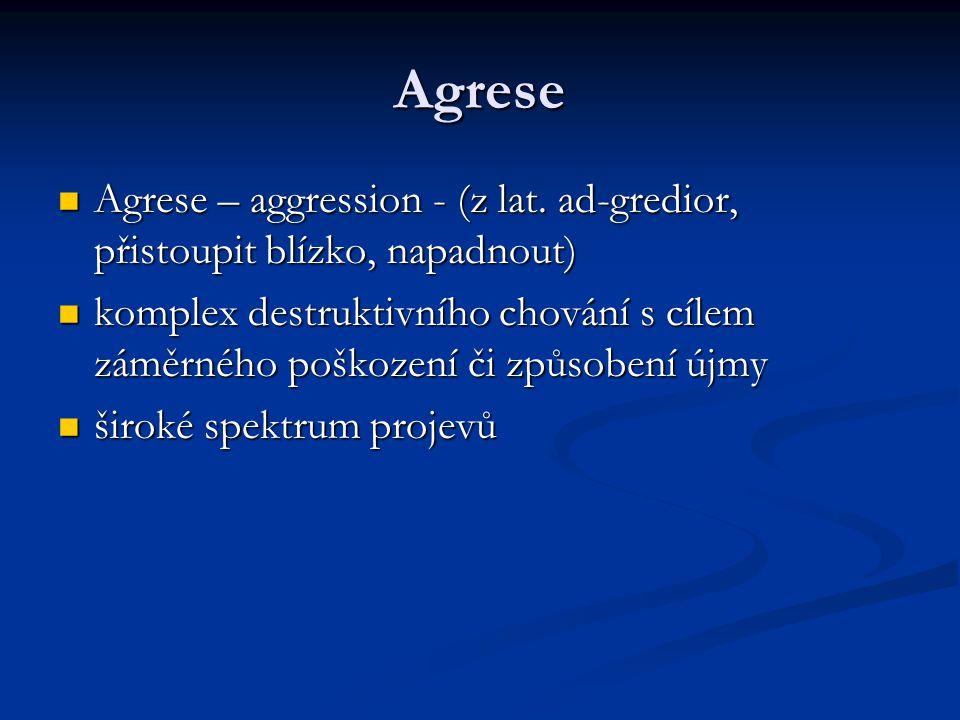 Agrese Agrese – aggression - (z lat. ad-gredior, přistoupit blízko, napadnout)