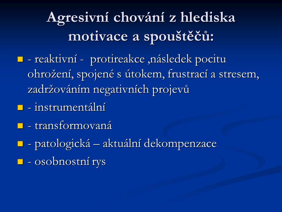Agresivní chování z hlediska motivace a spouštěčů: