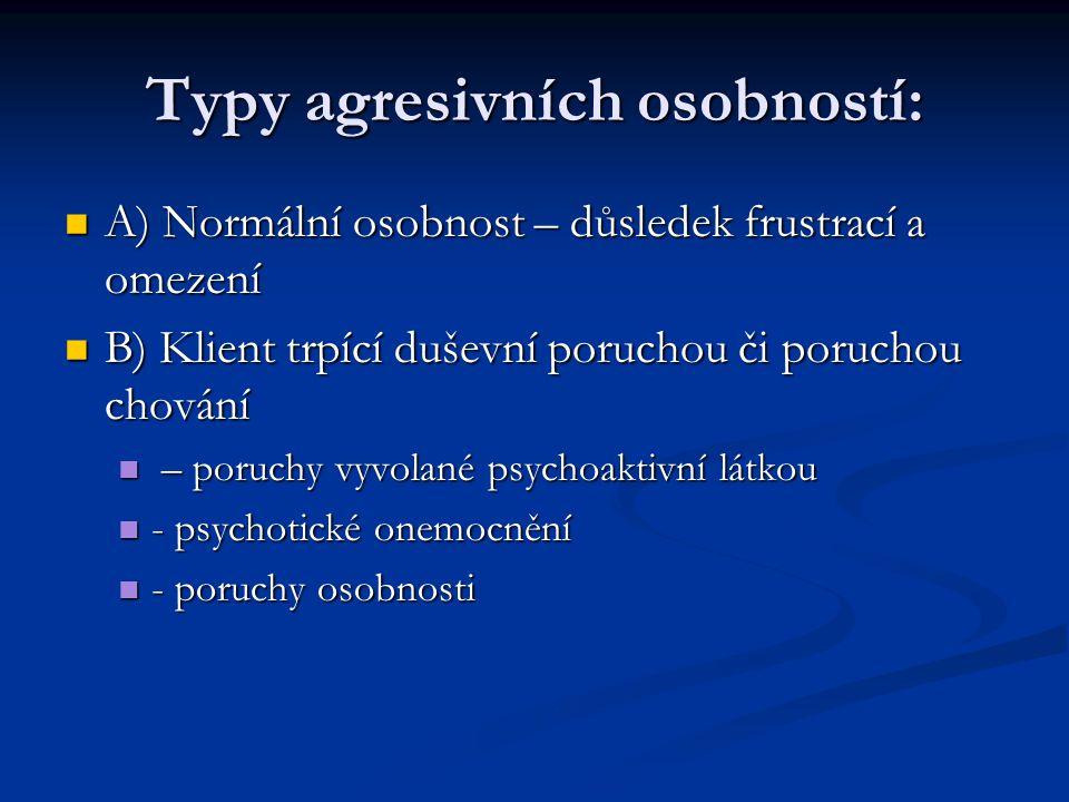 Typy agresivních osobností: