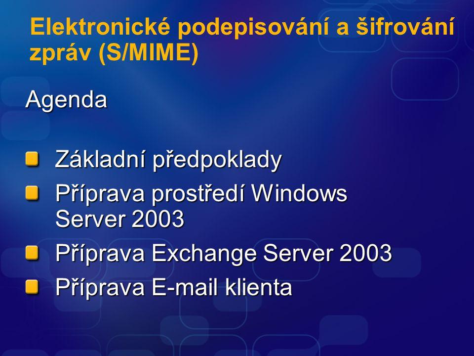 Elektronické podepisování a šifrování zpráv (S/MIME)