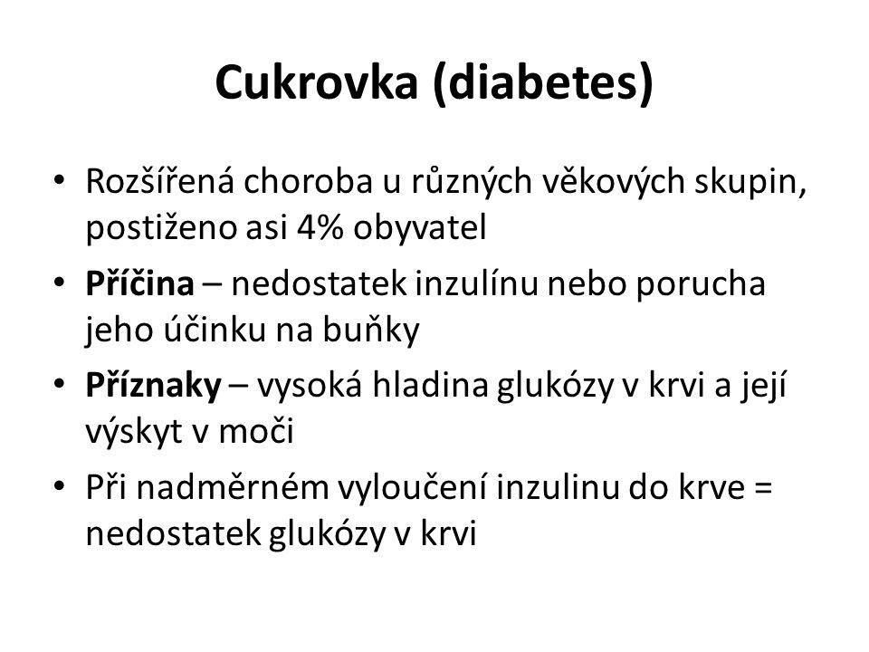 Cukrovka (diabetes) Rozšířená choroba u různých věkových skupin, postiženo asi 4% obyvatel.