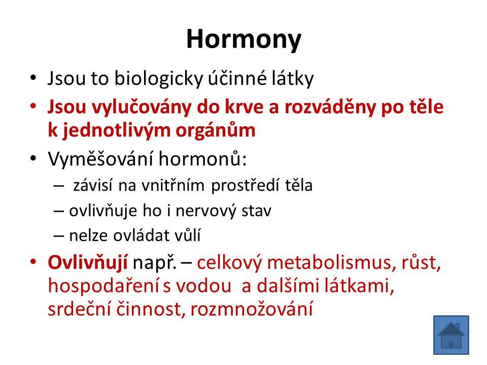 Hormony Jsou to biologicky účinné látky
