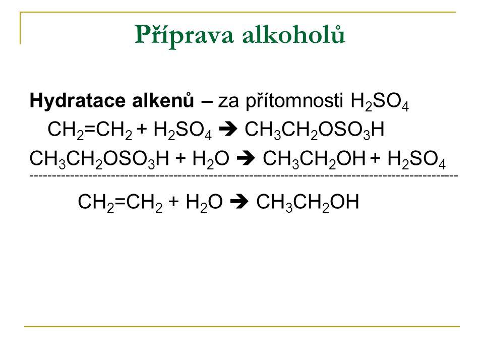 Příprava alkoholů Hydratace alkenů – za přítomnosti H2SO4