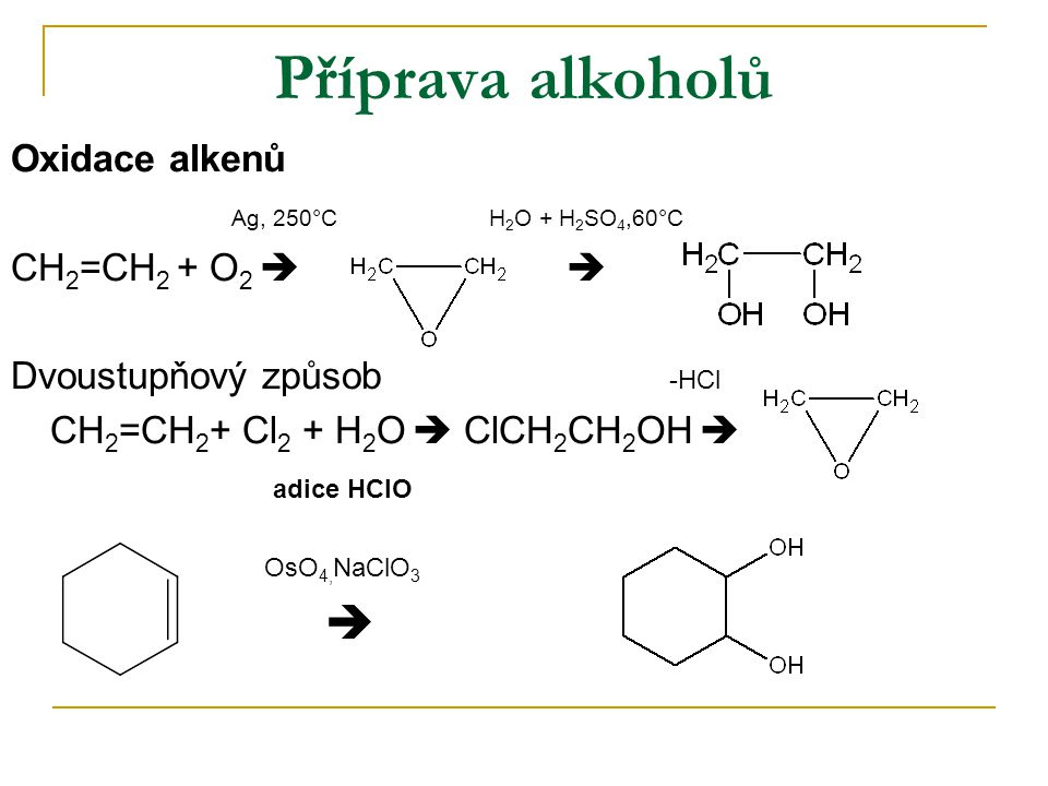 Příprava alkoholů Oxidace alkenů Ag, 250°C H2O + H2SO4,60°C