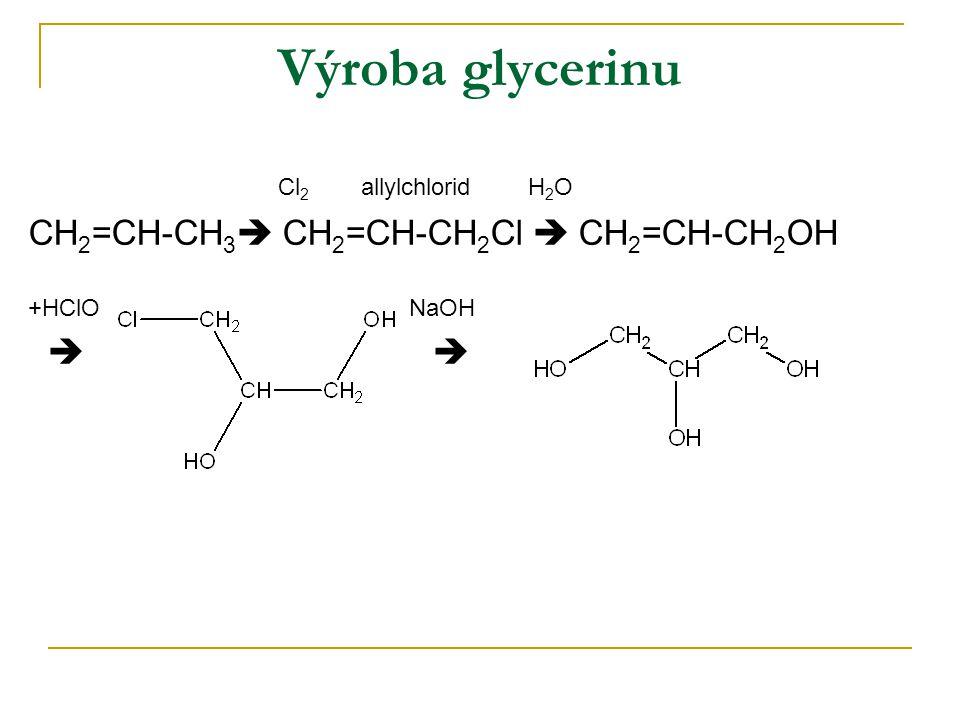 Výroba glycerinu Cl2 allylchlorid H2O