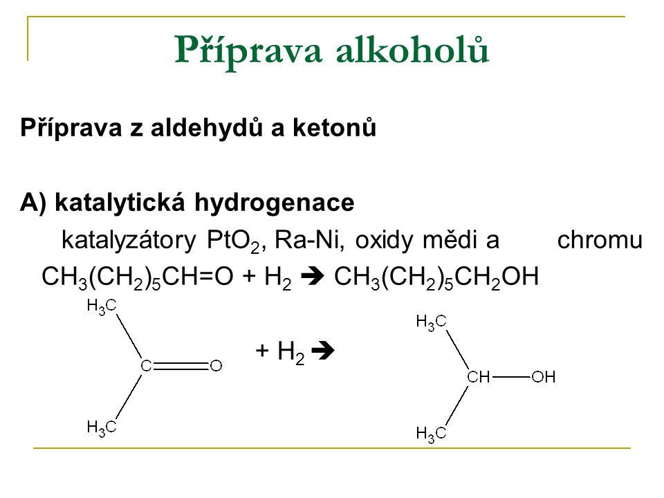 Příprava alkoholů Příprava z aldehydů a ketonů