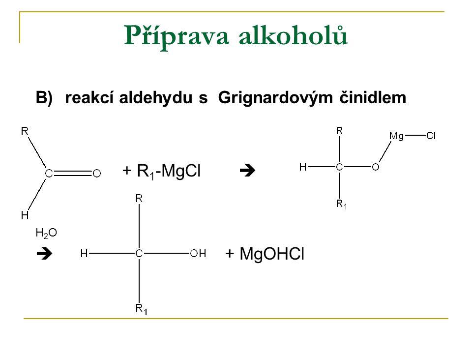 Příprava alkoholů B) reakcí aldehydu s Grignardovým činidlem