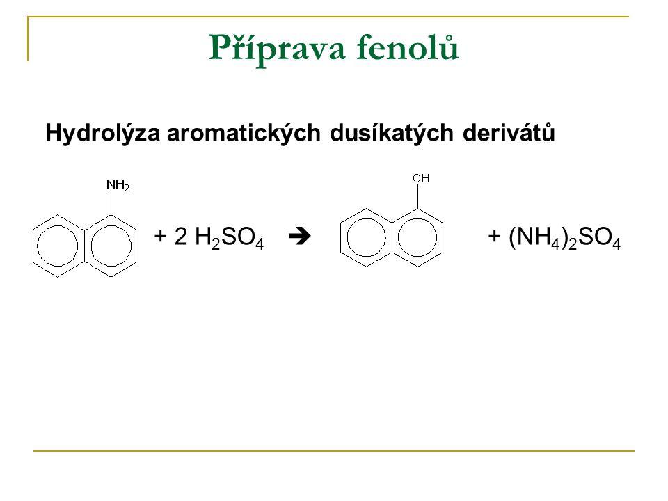 Příprava fenolů Hydrolýza aromatických dusíkatých derivátů