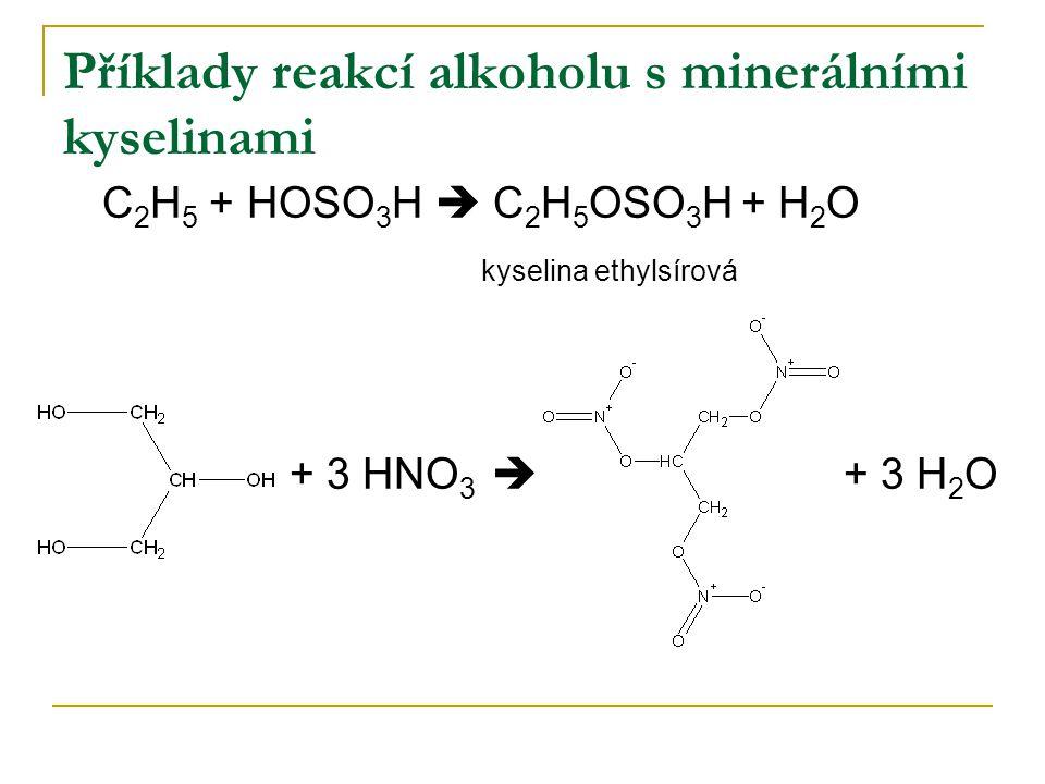 Příklady reakcí alkoholu s minerálními kyselinami
