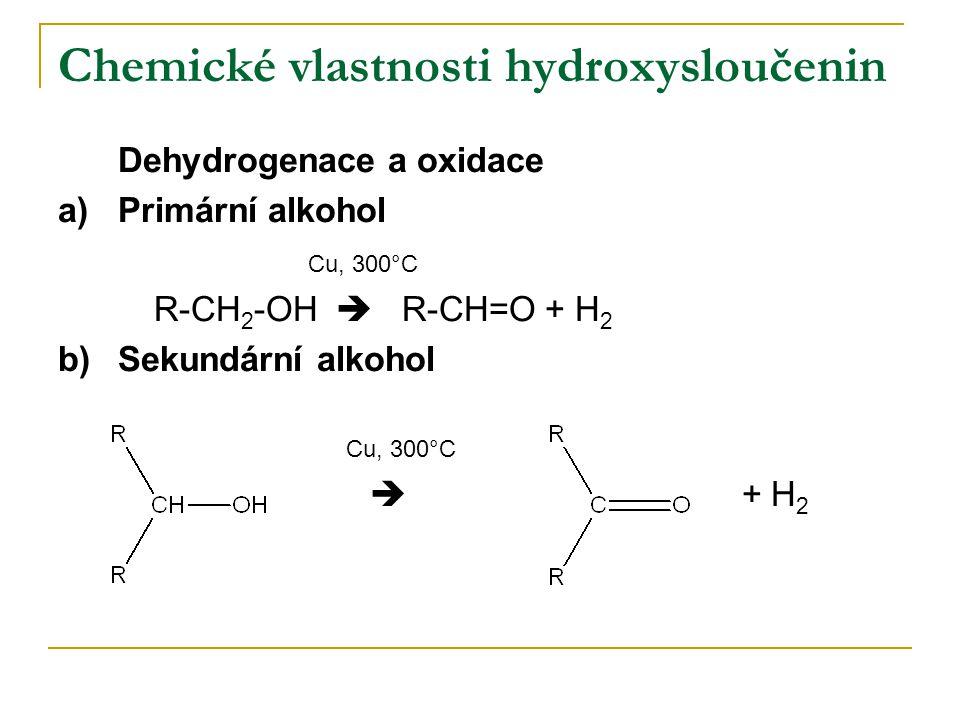 Chemické vlastnosti hydroxysloučenin