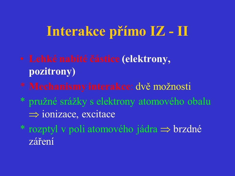 Interakce přímo IZ - II Lehké nabité částice (elektrony, pozitrony)