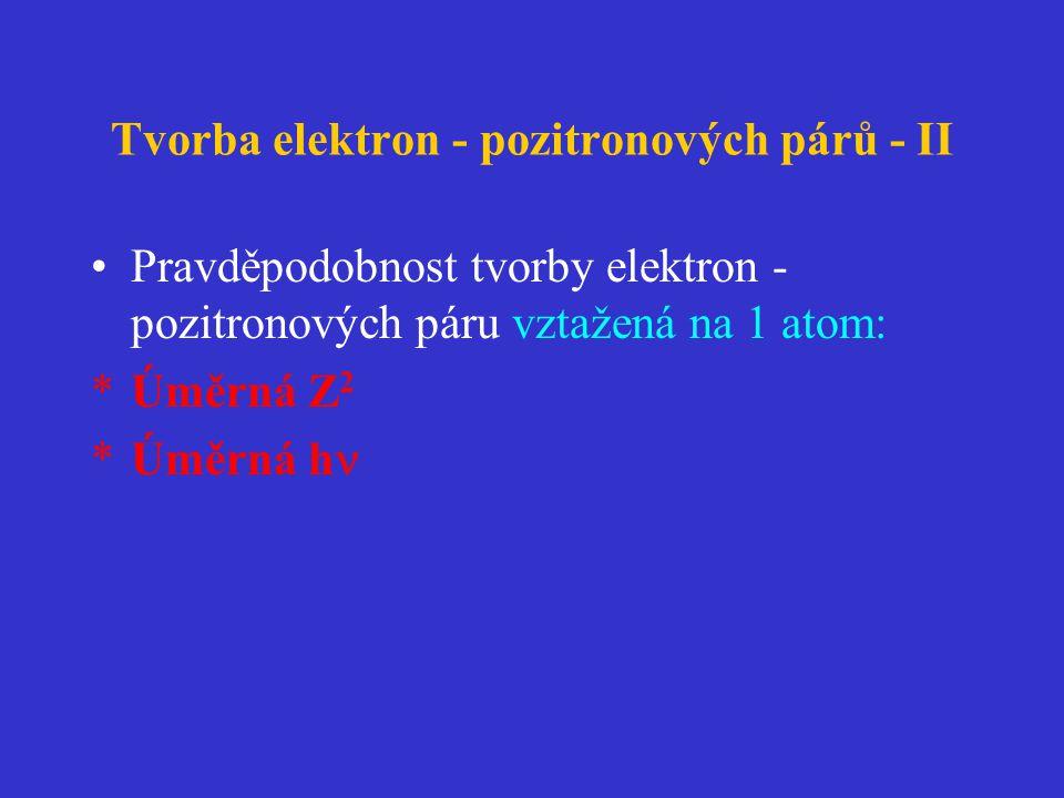 Tvorba elektron - pozitronových párů - II