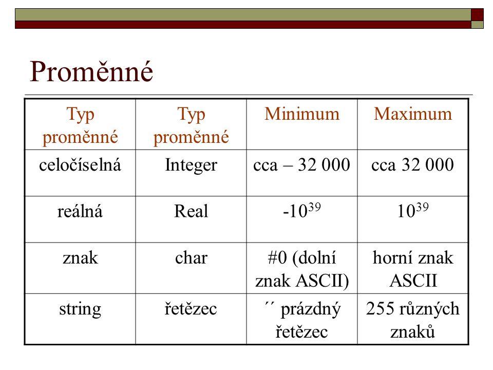 Proměnné Typ proměnné Minimum Maximum celočíselná Integer cca – 32 000