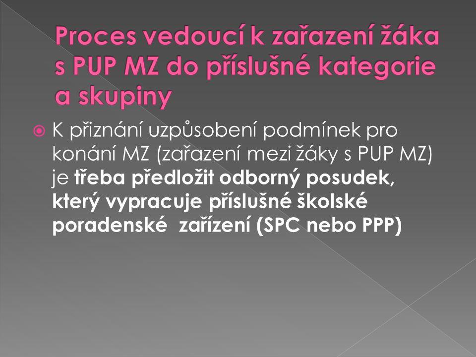 Proces vedoucí k zařazení žáka s PUP MZ do příslušné kategorie a skupiny