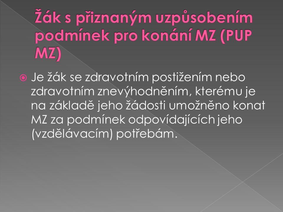 Žák s přiznaným uzpůsobením podmínek pro konání MZ (PUP MZ)