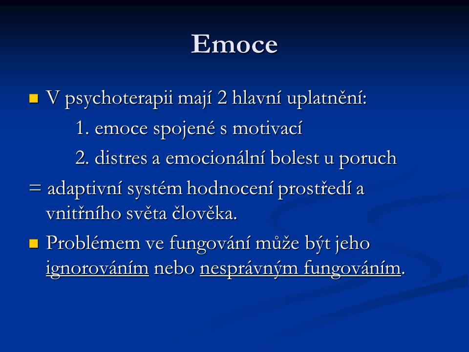 Emoce V psychoterapii mají 2 hlavní uplatnění:
