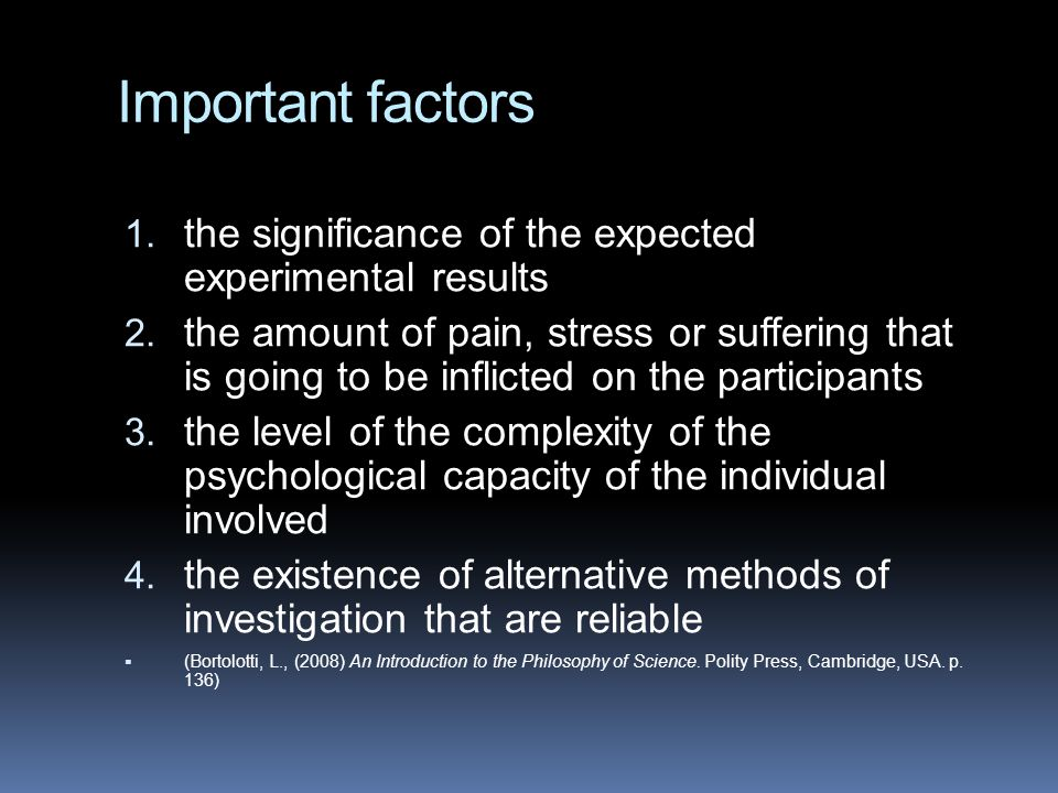 Important factors the significance of the expected experimental results.