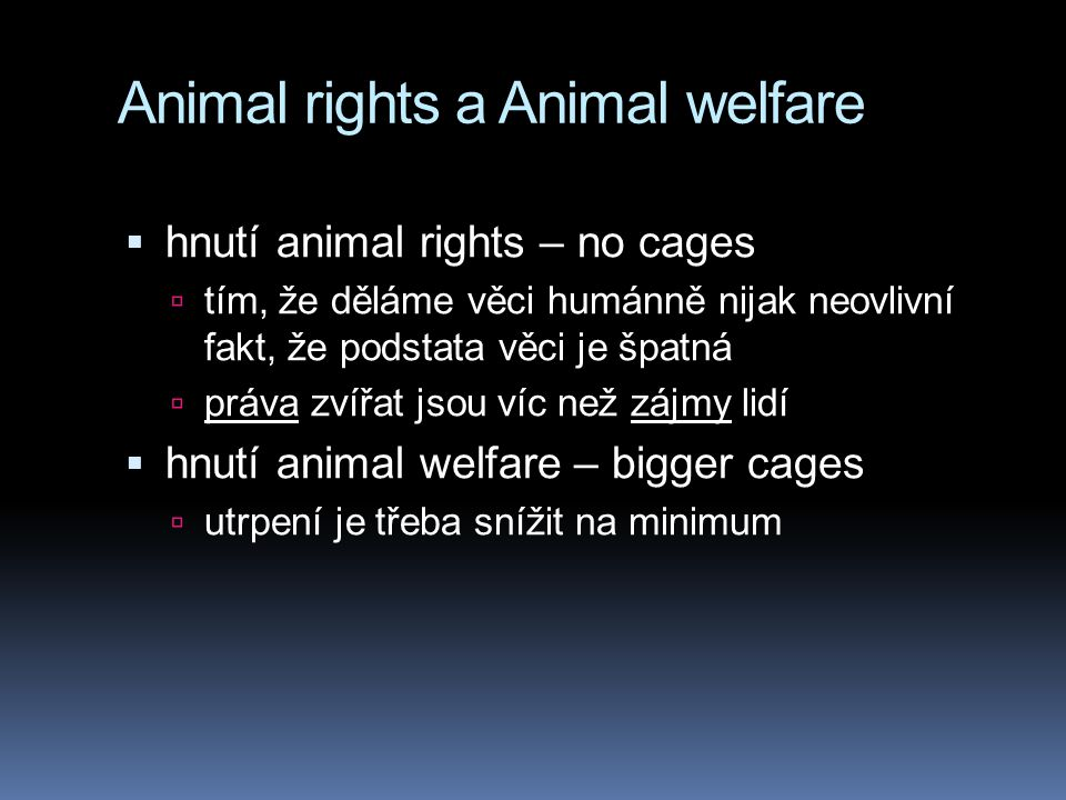 Animal rights a Animal welfare