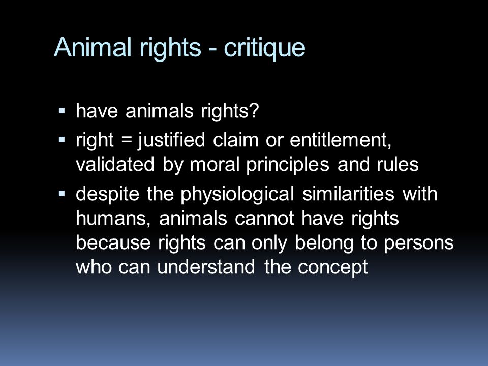 Animal rights - critique