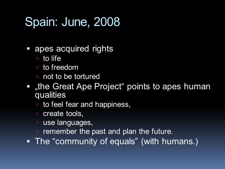 Spain: June, 2008 apes acquired rights
