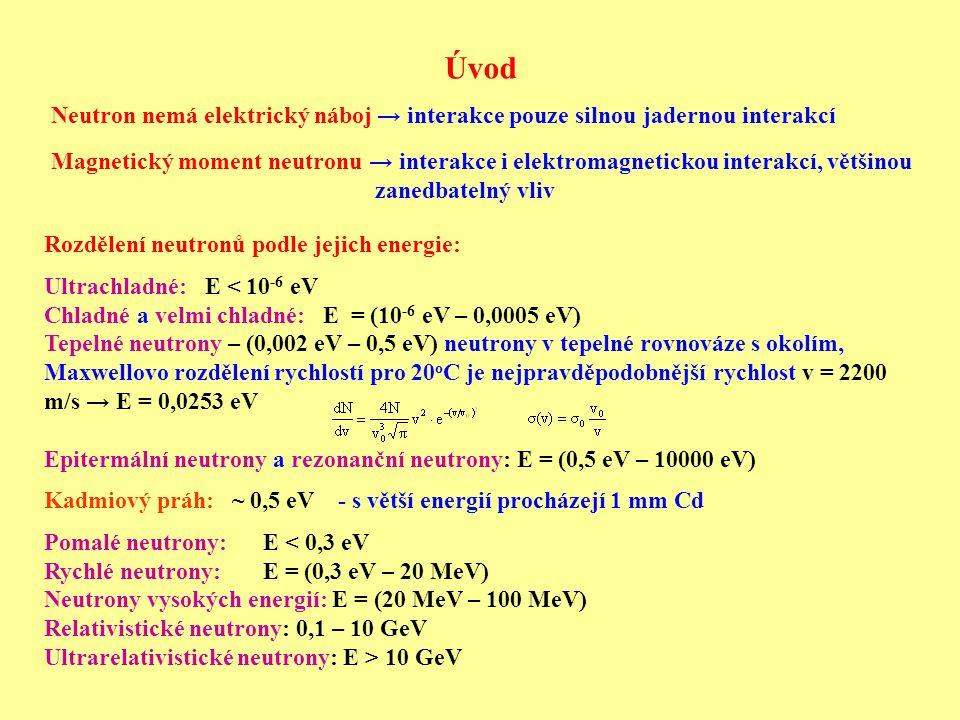 Úvod Neutron nemá elektrický náboj → interakce pouze silnou jadernou interakcí.